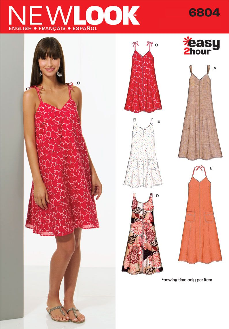 8861c1527a55 Womens Easy Two-Hour Dresses Pattern 6804 New Look Patterns -- cotton