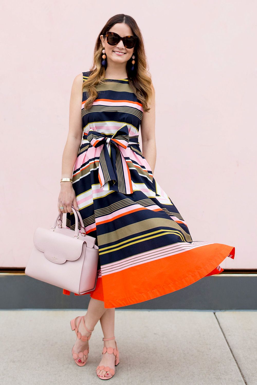 Multicolor Stripe Fit And Flare Midi Dress My Likes My