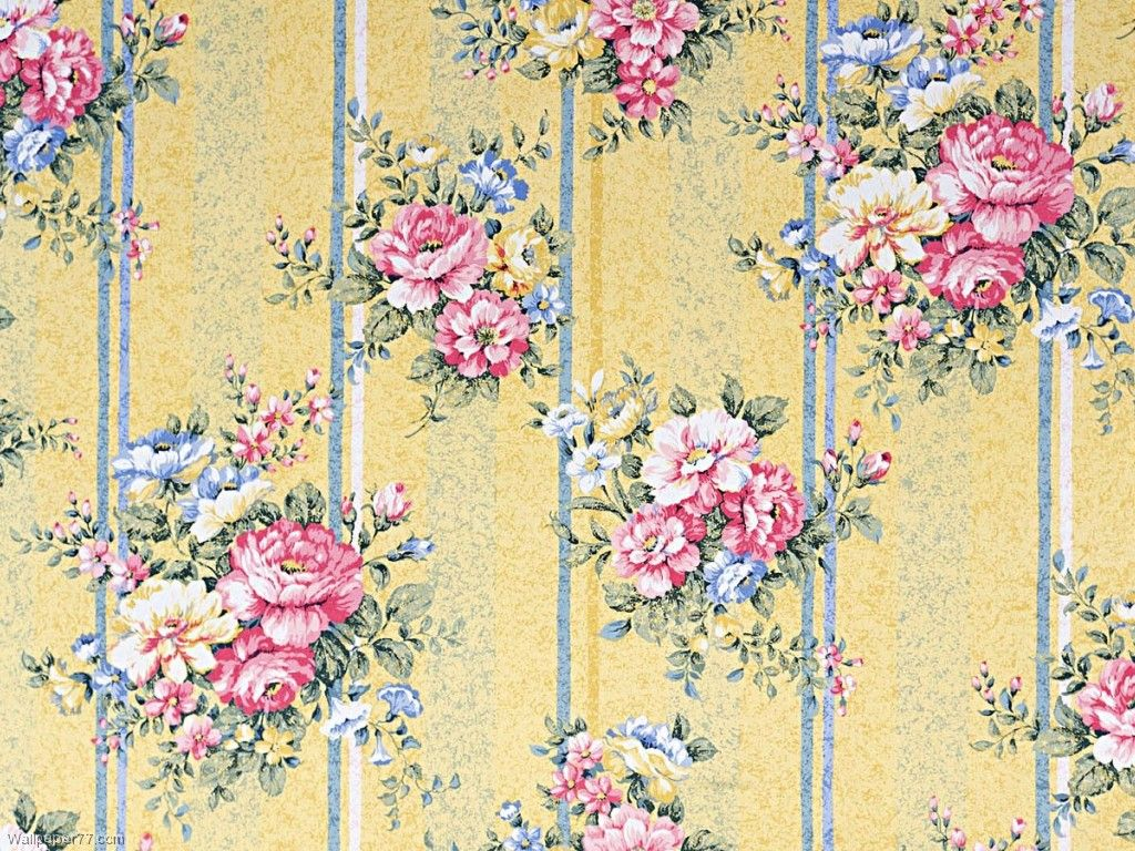 Flower Rose Pattern Vintage Yellow Patterns Wallpaper with