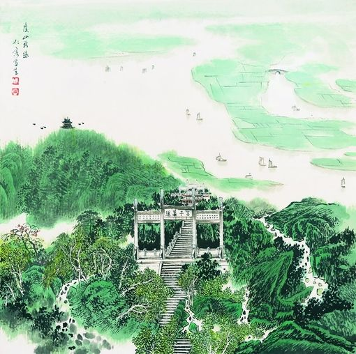 Landscape garden painting, mountain water, Chinese landscape.