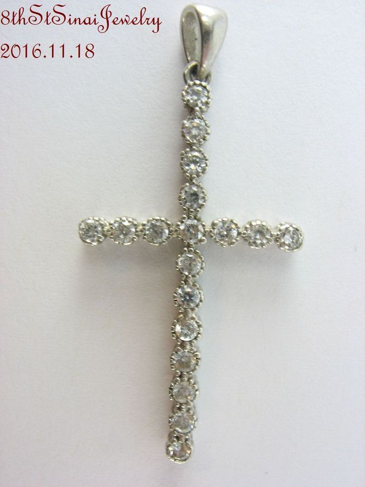 "Estate Sterling Silver 925 Cubic Zirconia CROSS Pendant 1-5/8""L x 3/4""W #Unbranded #Pendant"