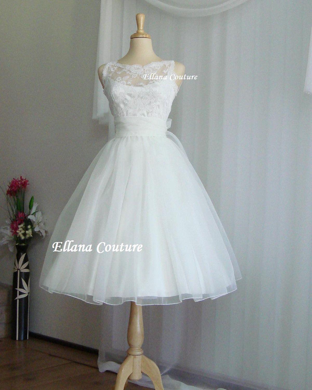 Sandra beautiful vintage inspired tea length wedding dress vow