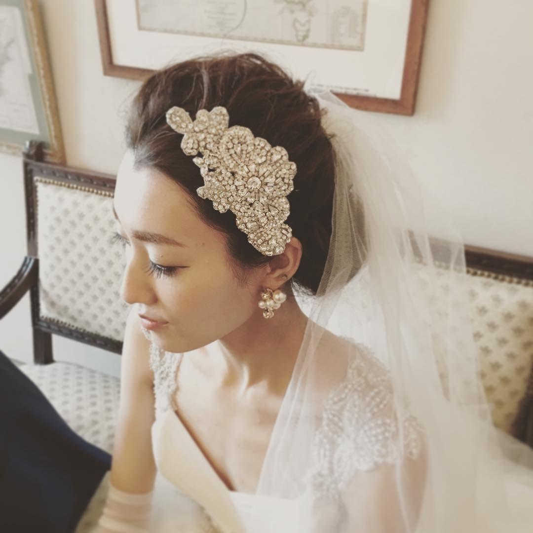 ヘッドドレス ベールを組み合わせた花嫁コーディネート Marry マリー