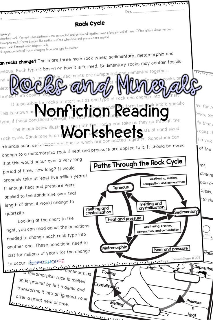 Worksheets Rocks And Minerals Worksheets rocks and minerals nonfiction reading activity worksheets in 2018 teaching resources pinterest rock cycle w