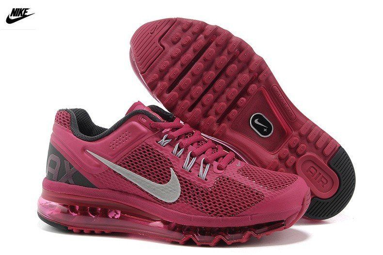 Toulouse Nike Femme Air Max 2013 WineRouge Noir Argent Chaussures Femme  (iDD1BG) Soldes