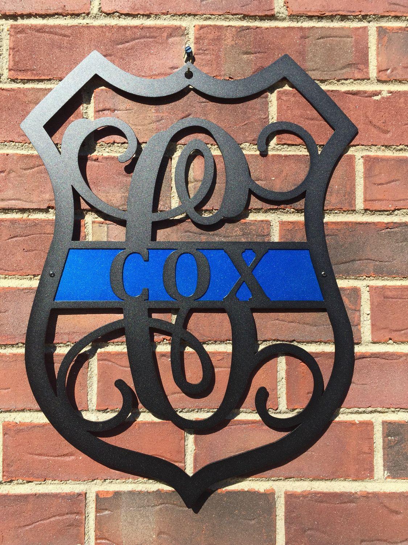 Leo Personalized Police Badge Monogram Door Wreath Front Door Wreath Metal Art Wall Decor Police Officer Gift Graduation Gift Polizisten Geschenke Popo