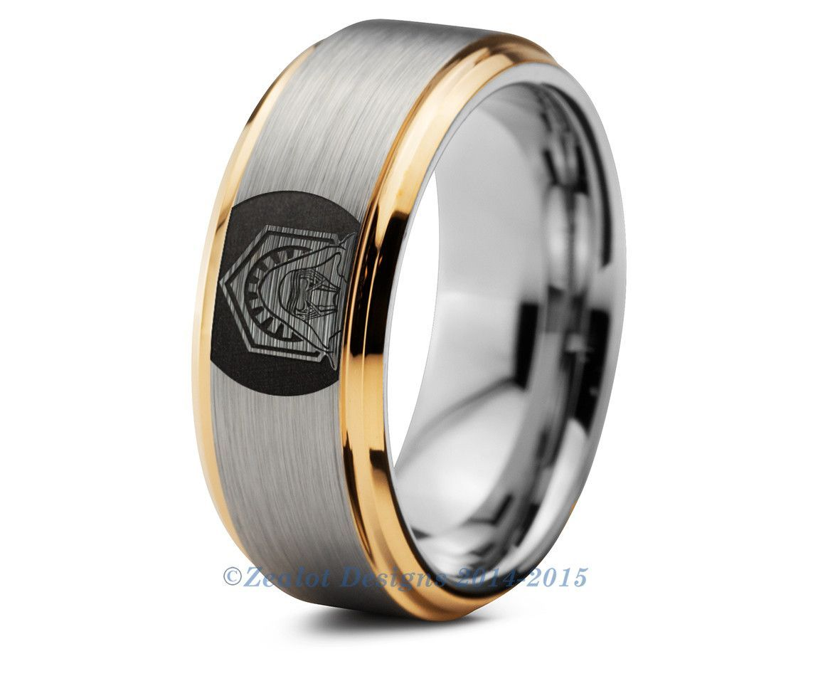 Star Wars Kylo Ren Tungsten Wedding Band Ring Mens Womens Brushed Beveled Yellow Gold Fanatic Geek Anni Tungsten Wedding Bands Rings For Men Wedding Ring Bands