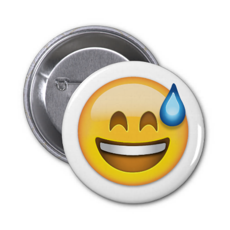 Smiling Face With Open Mouth And Cold Sweat Emoji Pinback Buttons Smile Face Buttons Pinback Emoji