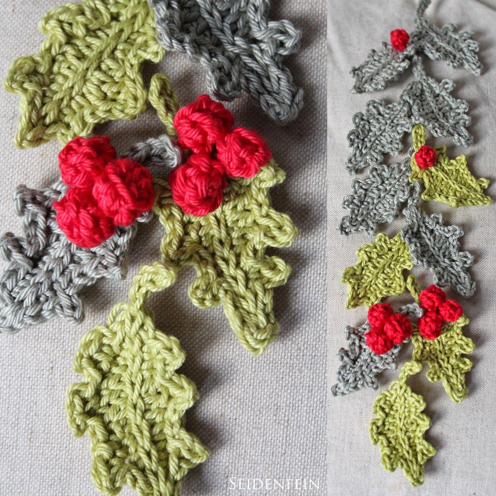 Seidenfeins Dekoblog 8 Ilex Blätter Gehäkelt Diy Crochet