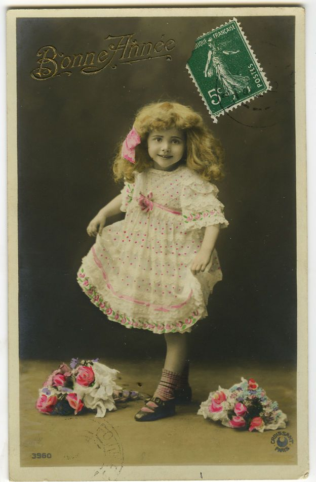 c 1913 French Child Children CUTE LITTLE GIRL kids tinted photo postcard