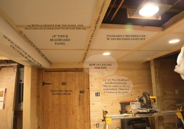 removable beadboard ceiling panels in basement | look up in