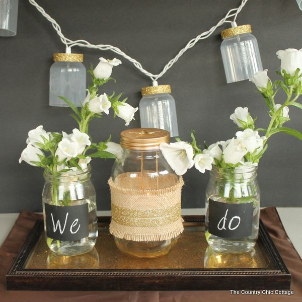 Country Wedding Centerpieces Mason Jars: Rustic Glam Wedding Decor #dollargeneral