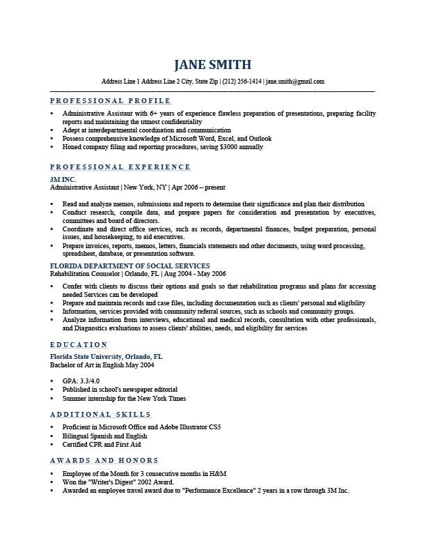 Professional Resume Templates With Images Resume Profile
