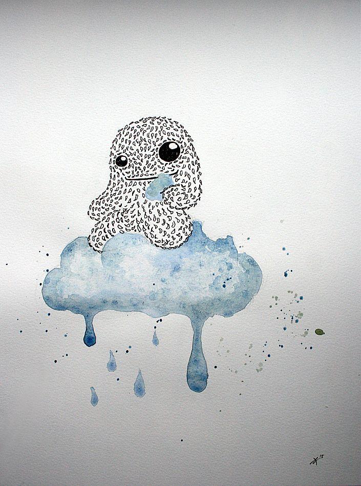Ann-Kathrin Nikolov - Puffy Greed. Aquarellfarbe und Tusche auf Aquarellpapier #annkathrinnikolov #monster #Zeichnung #startyourart www.startyourart.de