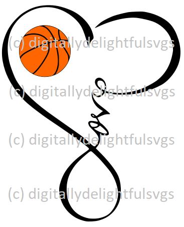 Download Love Basketball Heart Infinity Symbol   Basketball mom ...
