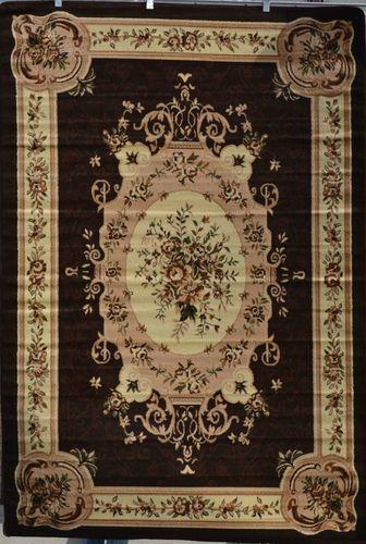 Burgundy Green Beige Black Brown Victorian Area Rug Carpet Floral
