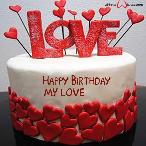 love cake design for boyfriend Love Birthday Cake Photo - eNameWishes  Cake for boyfriend