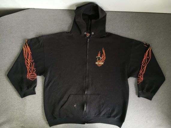 Harley Davidson Shirt 1996 Vintage Flame Sleeve Zip Up Hoodie