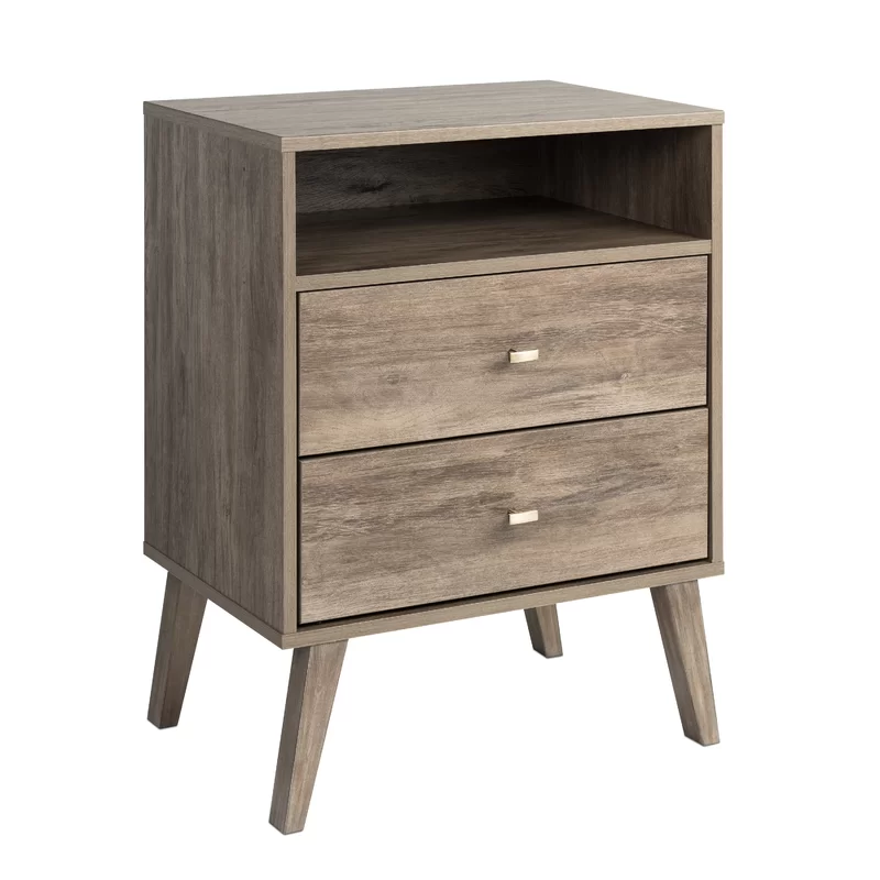 Shamar Mid Century Modern 2 Drawer Nightstand In 2020 Tall