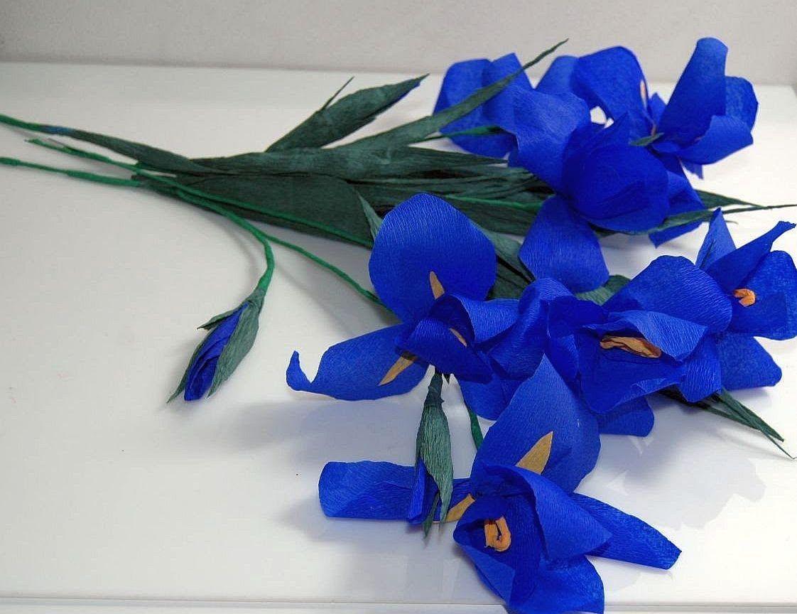 Kwiaty Z Bibuly Irys Crepe Paper Flowers Iris Iris Diy Paper Flowers Paper Flowers Diy Crepe Paper Flowers