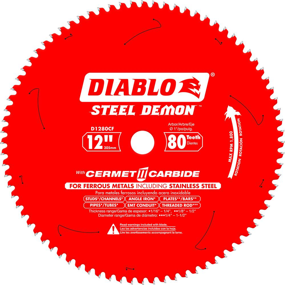 Diablo 12 In X 80 Tooth Steel Demon Cermet Ii Carbide Blade For Ferrous Metals And Stainless Steel D1280cf Circular Saw Blades Table Saw Blades Sliding Mitre Saw
