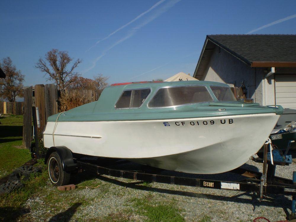 Boat vintage dorsett cabin cruiser boats pinterest for Aluminum boat with cabin for sale