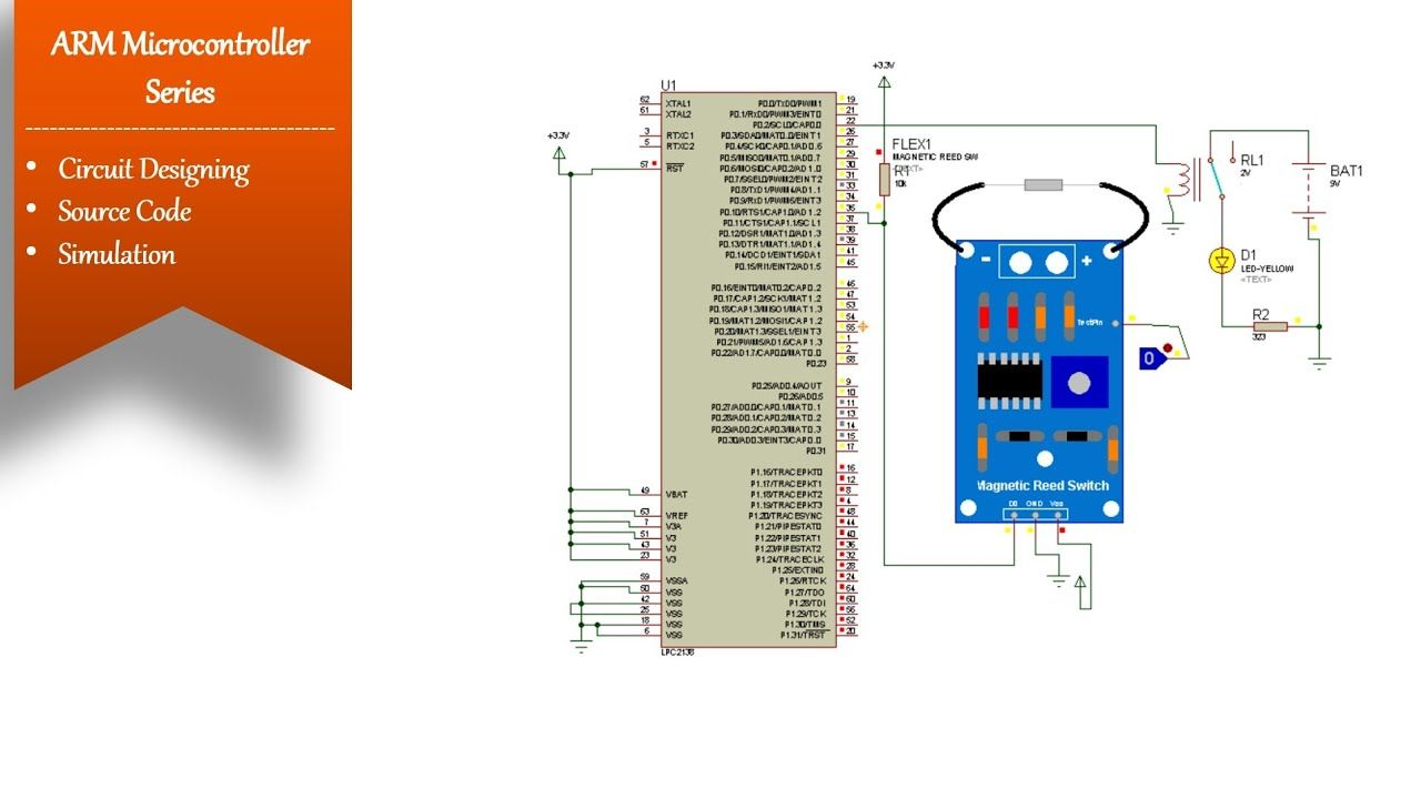 Reed Switch Interfacing With Lpc2138 Simulation Digital Io Function Microcontrollers Digital Arm Microcontroller