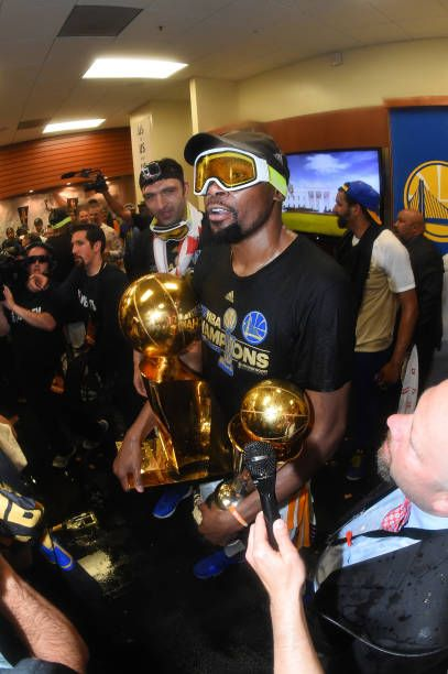 Finals Mvp Kevin Durant Of The Golden State Warriors Celebrates In The Locker Room After Golden State Warriors Pictures Golden State Warriors Nba Championships