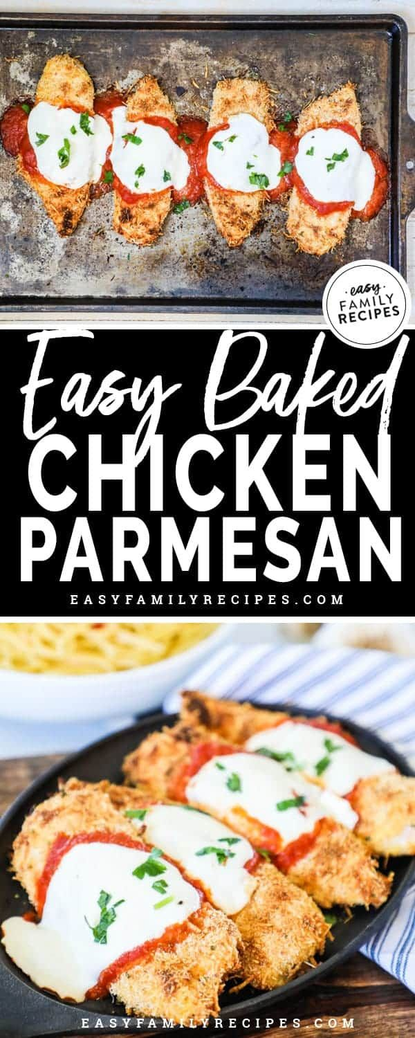 Easy Baked Chicken Parmesan · Easy Family Recipes #chickenparmesan
