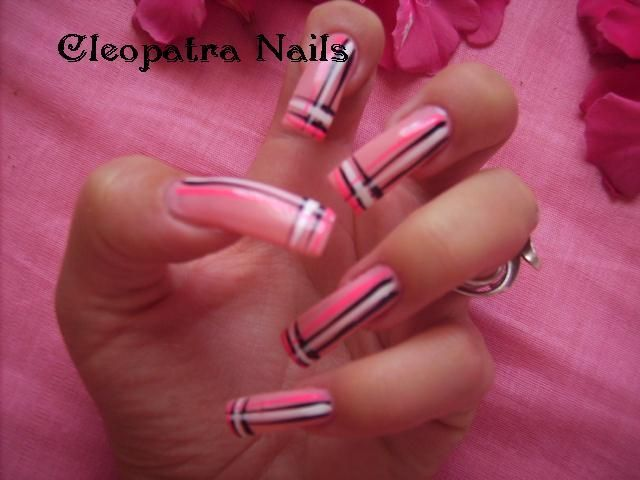 Line Art Nails : Classic pink and black lines design nail art