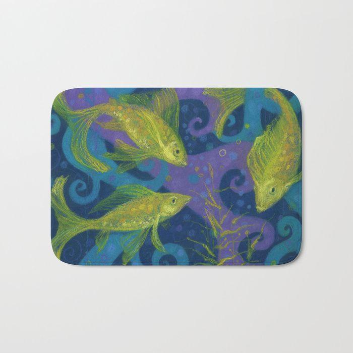 Yellow Bathroomideas: Golden Fishes, Blue & Yellow Bathroom Mat Nautical Design