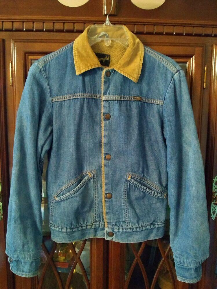 Vtg Wrangler Western Snap Sherpa Lined Denim Jean Jacket Usa Corduroy Collar 34 Wrangler Je Vintage Clothing Men Lined Denim Jacket Sherpa Lined Denim Jacket