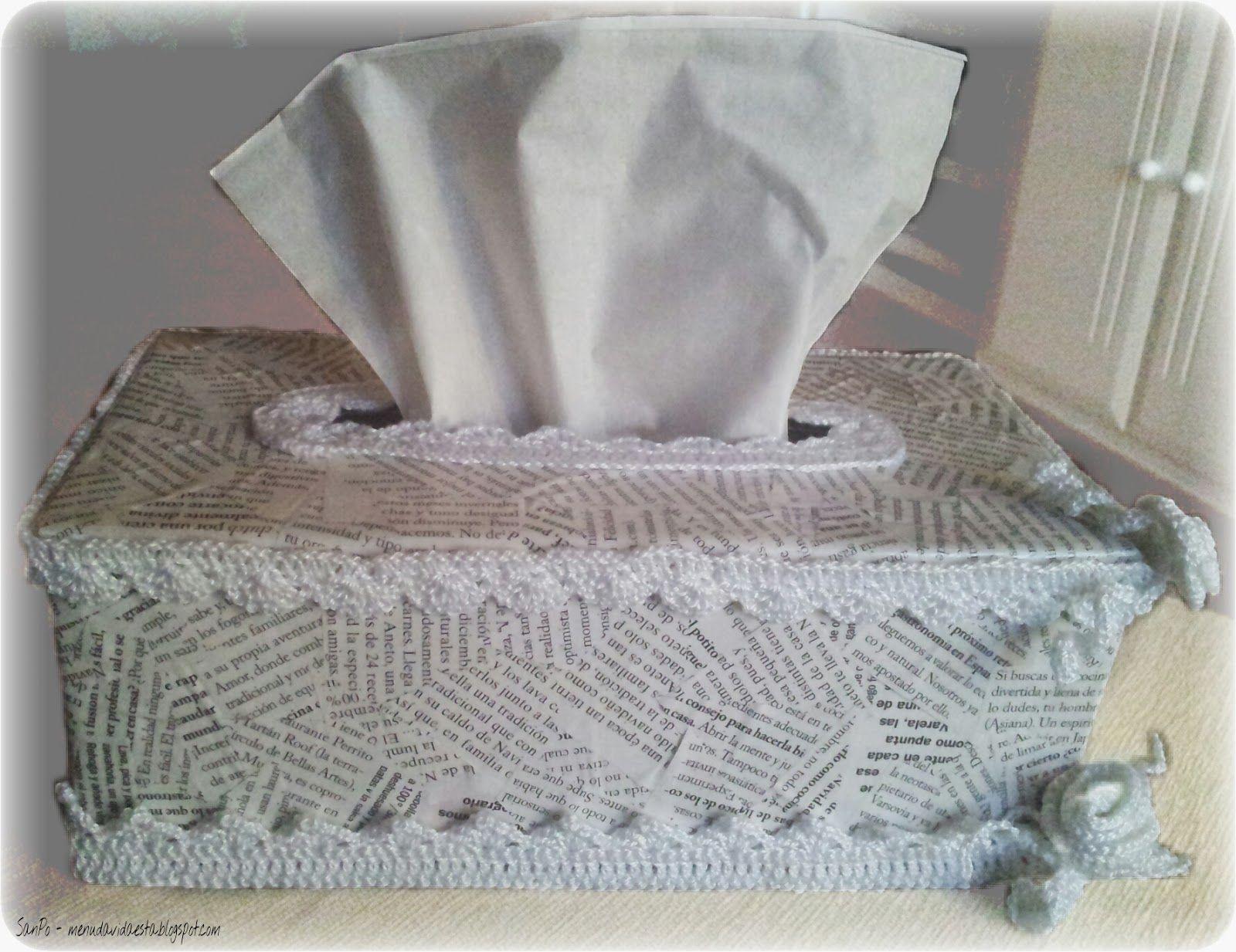 caja de pañuelo, decorado en tejido