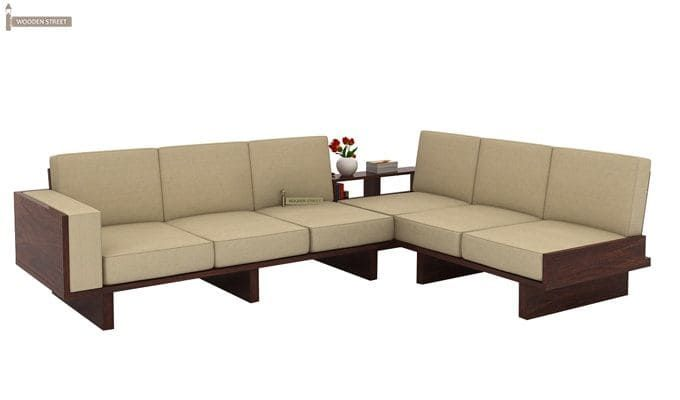 Best Buy Audrey 6 Seater L Shape Corner Sofa Set Walnut Finish 400 x 300