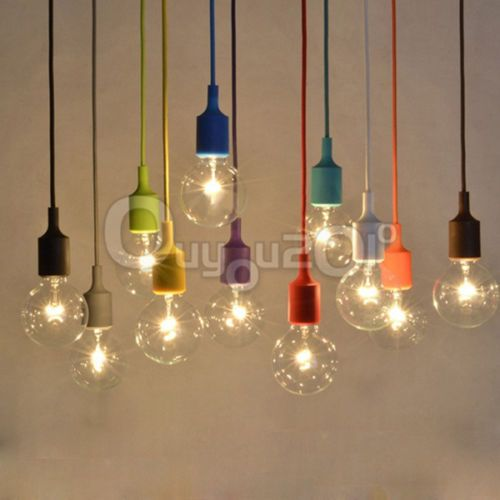 E27 75mm Color Silicone Ceiling Rope Cord Pendant Lamp Holder