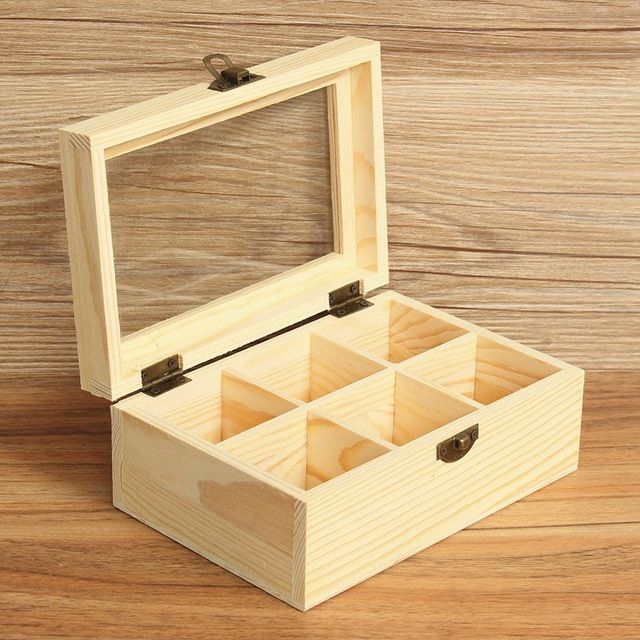 Incroyable Vintage 1pcs 6 Compartments Jewelry Accessories Storage Container Wooden  Tea Boxu2026
