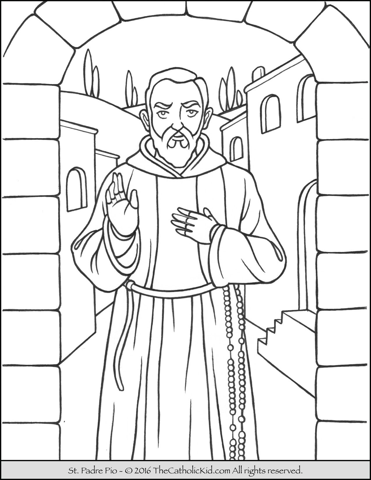 Saint Padre Pio Coloring Page - The Catholic Kid | Catholic Saints ...