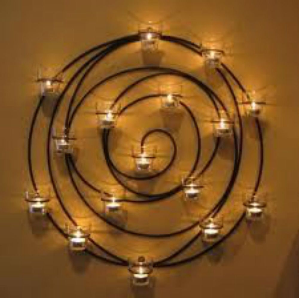 For Rick Wrought Iron Circle Large Candle Votive Wall Decor