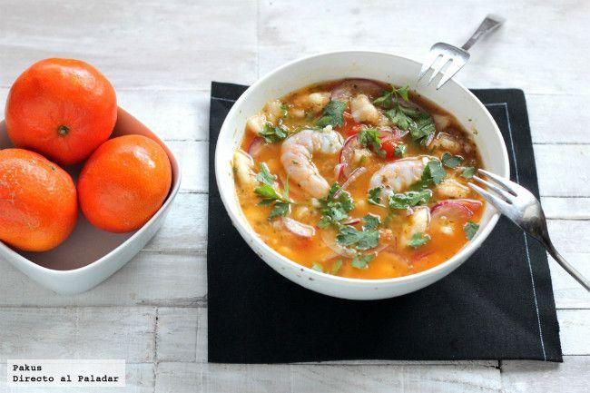 Ceviche de merluza, langostinos y mandarina. Receta ligera. http://www.farmaciafrancesa.com