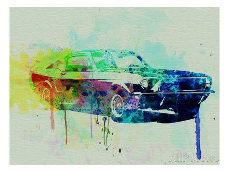 Ford Mustang Watercolor 2 Art By Naxart Car Wall Art Painting