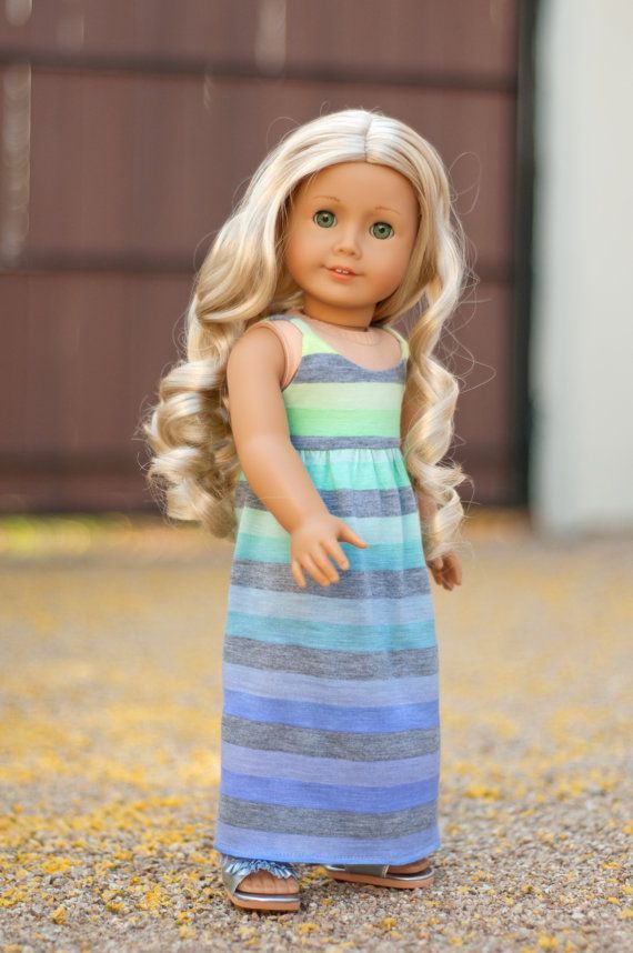 Ombre Maxi Dress with Stripes for an American Girl Doll or other 18 Inch Dolls #americandolls Ombre Maxi Dress with Stripes by RoyalDollBoutique #americangirldollcrafts