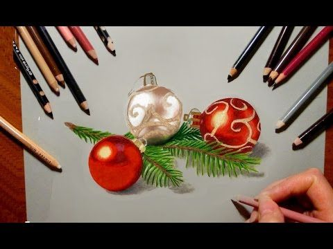 Colored Pencil Drawing Christmas Tree Decorations