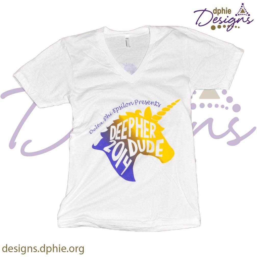 Deepher Dude 2014 custom chapter order!! Delta Phi Epsilon custom vneck shirts! Made by DPhiE Designs!!