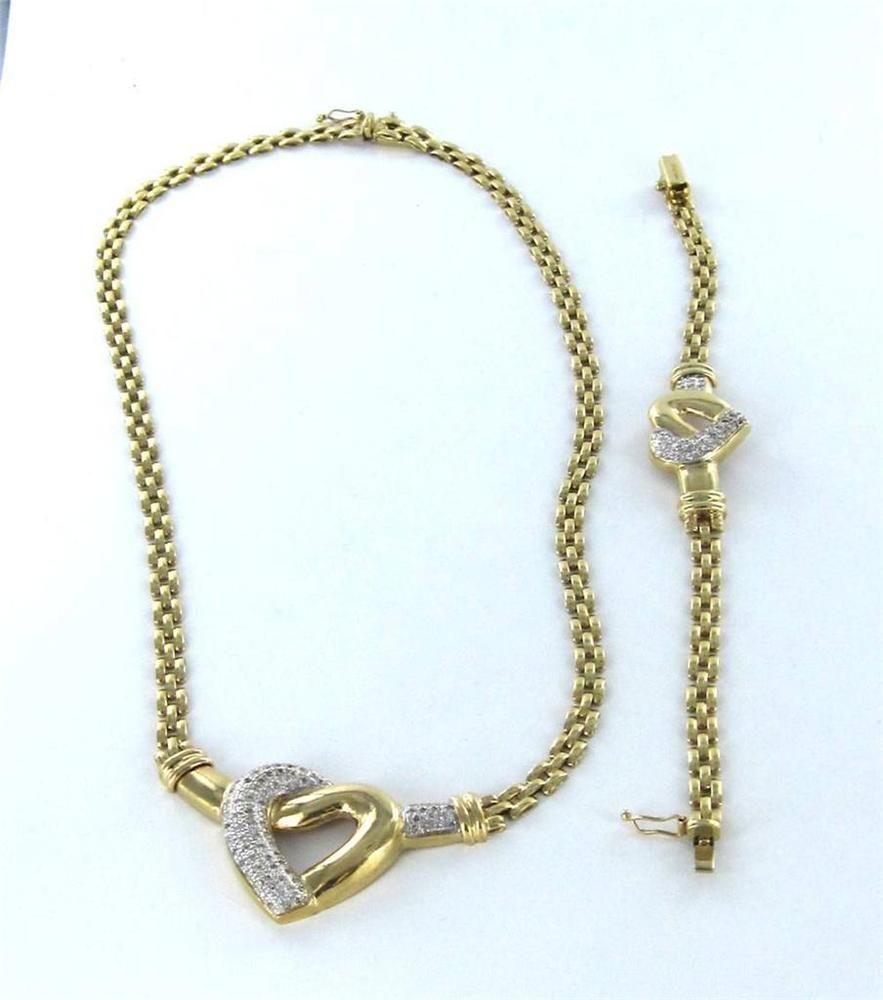 K yellow gold necklace heart chain u bracelet set lot diamond mesh