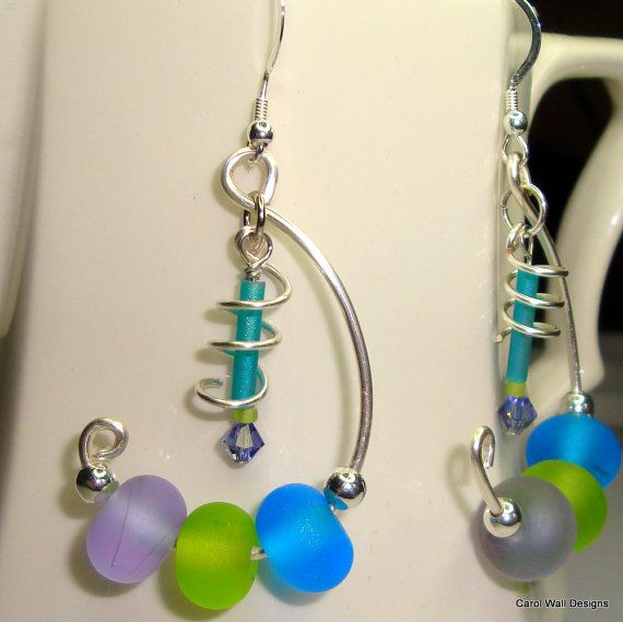 Lime Purple and Blue lampwork bead earrings in by CarolWallDesigns, $19.00