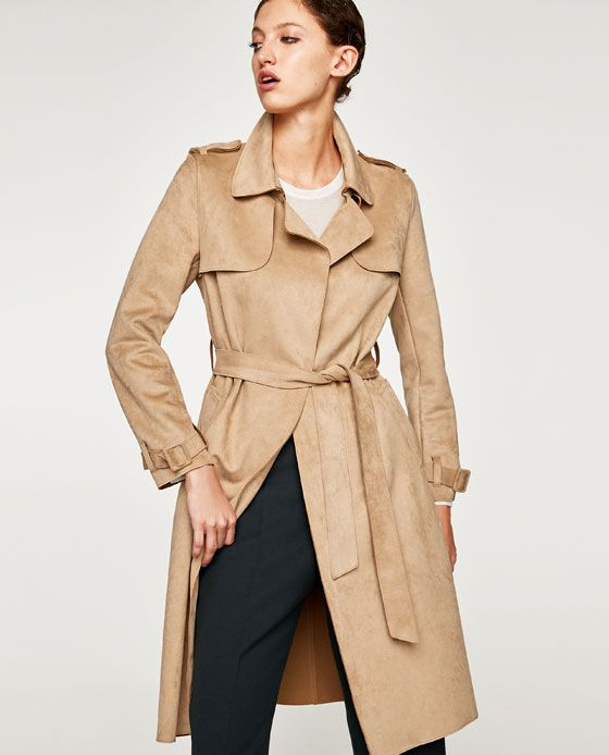 4fdae0ae42e46 Image 1 of FAUX SUEDE TRENCH COAT from Zara   Wish List   Pinterest ...