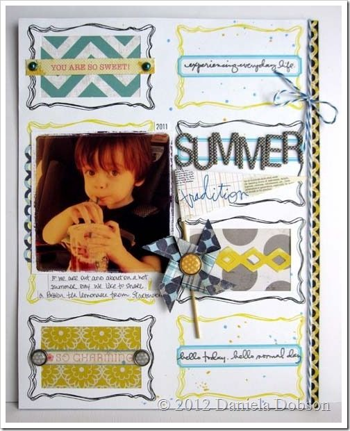 Adorable layout by Daniela Dobson. Made with the Simple Joy by Ali Edwards (May 2012) Studio AE stamp set from TechniqueTuesday.com.