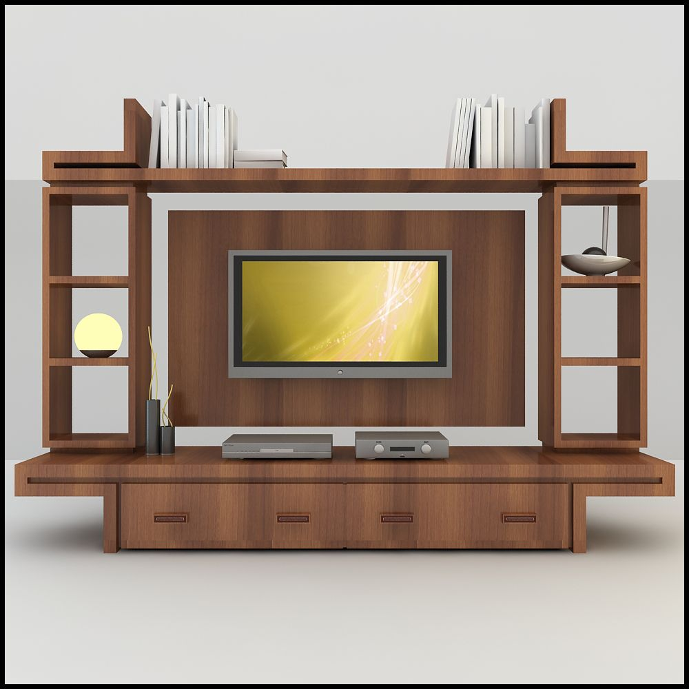 elegant wood tv wall unit with modern design in 3d rendering picture furniture living - Modern Tv Wall Design