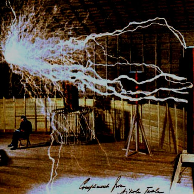 The famous double exposure of nikola tesla and operational tesla the famous double exposure of nikola tesla and operational tesla coil inside colorado springs experimental station sciox Gallery