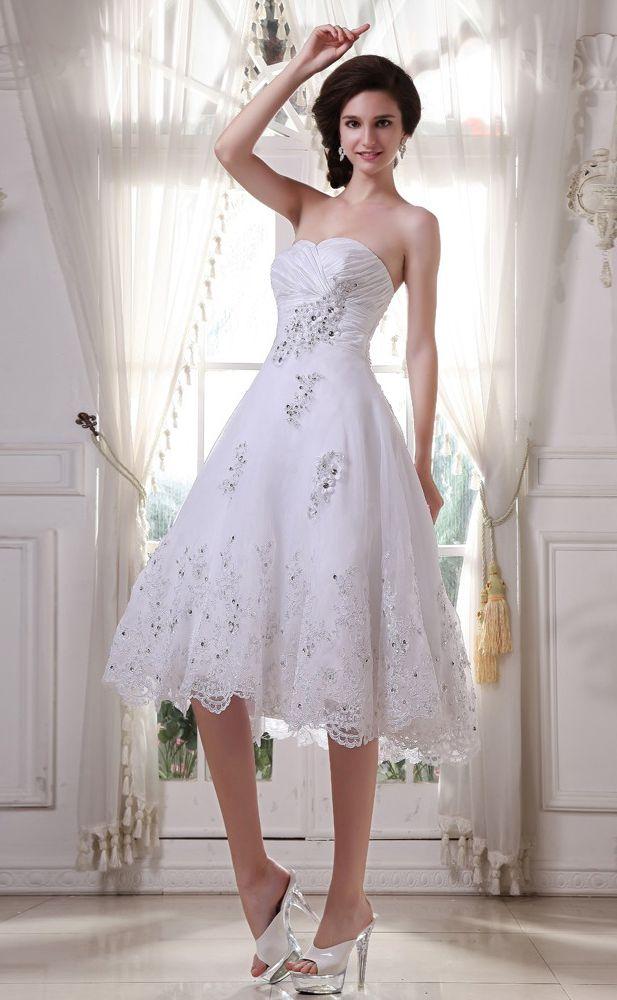 Weiß Brautkleider Kurz Spitze Herz A Linie Knielang